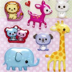 kawaii animals puffy stickers with alpaca lion elephant