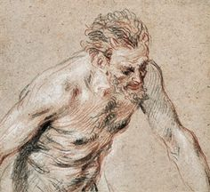 A satyr, half-length, leaning forward to the right By Jean-Antoine Watteau Trois Crayons, Present Drawing, Drawing Sketches, Drawings, Pastel Portraits, Artist Sketchbook, Toned Paper, Satyr, Old Master