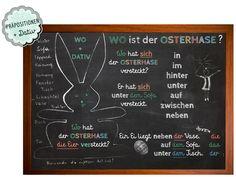 Wo ist der Osterhase?  Wo + DATIV Blog — Die Sprachfee Chalkboard Quotes, Teaching Ideas, Art Quotes, German, Blog, German Words, Learn German, Grammar, Easter Bunny