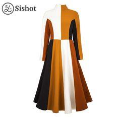 Women dresses autumn chocolate patchwork a line mid calf turtleneck fall office dress