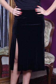 conDiva Black Velvet Milonga Skirt with Ruffles