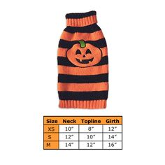 Pumpkin Stripe Dog Sweater for Small Dogs