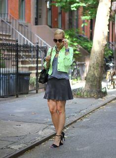 Brooklyn Blonde: neon green and grey