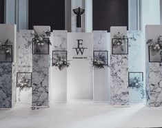 White marble background looks cool DIY it: Marble vinyl Scrap wood from local hardware store (Lowe's or Home Depot) Wedding Backdrop Design, Wedding Stage Design, Wedding Stage Decorations, Diy Backdrop, Wedding Designs, Backdrops, Looks Cool, Event Decor, Event Design