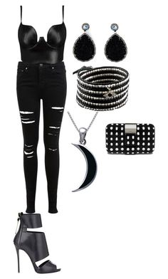 """""""cool black"""" by candycheese2007 ❤ liked on Polyvore featuring Miss Selfridge, Posh Girl, Giuseppe Zanotti, Gemco, Chan Luu and Carolina Glamour Collection"""