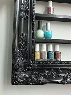 Painted frame with wooden shelves. Nail polish holder