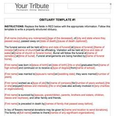 Obituary Template Word   Funeral    Template