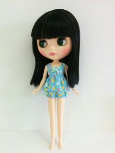 Blue Floral Top and Shorts for Neo Blythe & Licca by SKSungDesigns