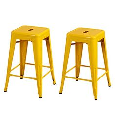 Joveco 24 Inches Sheet Metal Frame Tolix Style Bar Stool - Set of 2 (24 inches Yellow)