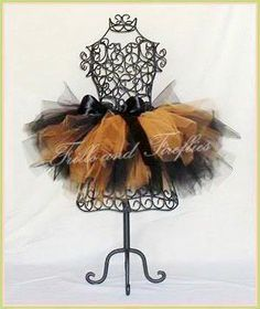 Orange and Black Full and Puffy Tutu with Black Satin Bow by Frills and Fireflies, $32.00