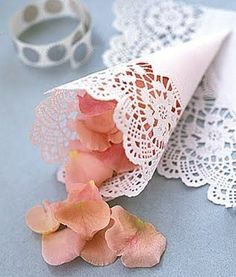 Do a flower petal toss instead of a rice toss - make cones from doilies and use TULIP petals, lol Doily Wedding, Wedding Confetti, Wedding Paper, Wedding Flowers, Wedding Day, Wedding Ceremony, Paper Doilies Wedding, Wedding White, Summer Wedding