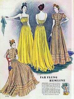 Fashion illustration from the February 1939 issue of McCall's magazine // I love the yellow dress.