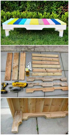 DIY Wooden Pallet Benches - 110 DIY Backyard Ideas to Try Out This Spring & Summer - DIY & Crafts #diygardenprojectsyardart Wooden Pallet Crafts, Wooden Pallet Furniture, Diy Pallet Projects, Wooden Pallets, Wooden Diy, Pallet Benches, Pallet Ideas, Pallet Couch, Pallet Shelves
