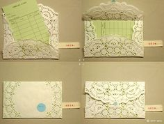 Doily DIY envelopes. Vintage and innovative. I love these! A cheap solution for ADORABLE invitations :)