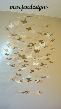 gold butterfly mobile, unique baby mobile, crib mobile, nursery mobile, teen room decor, dorm room decor, baby shower gift, nursery mobile