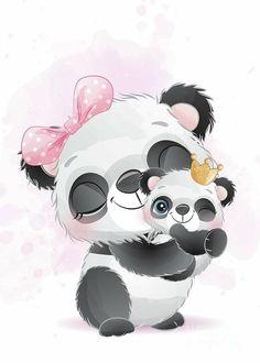 Cute Panda Cartoon, Cute Cartoon Pictures, Stencil, Hanging Canvas, Tatty Teddy, Card Tags, Tag Art, Painted Rocks, Fine Art America