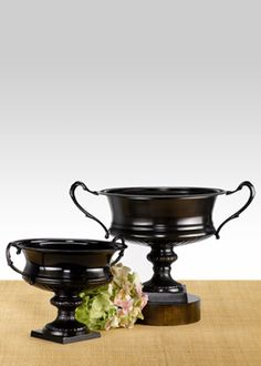 Antique Black Urns- we could bronze, pewter or copper these