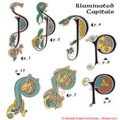 Celtic Manuscripts: The Book of Kells - Initials, Celtic Lettering and TTF Fonts