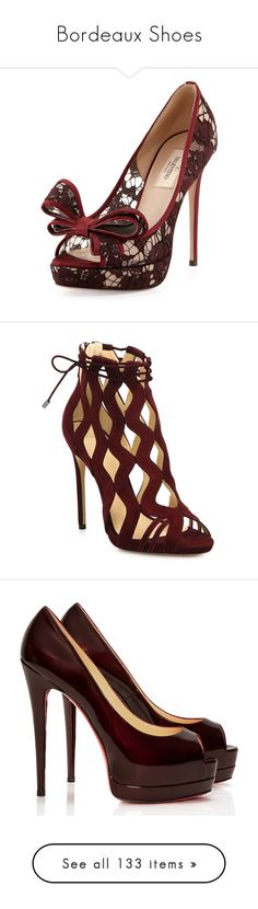 """""""Bordeaux Shoes"""" by lu-ciminari49 ❤ liked on Polyvore featuring shoes, pumps, heels, sapatos, footwear, wine, high heel platform pumps, high heeled footwear, lace peep toe pumps and platform pumps"""