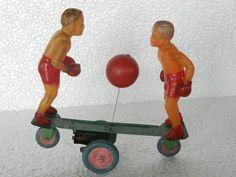 Rare Vintage Unusual Celluloid Boxing Couple On Platform Toy, Japan