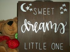 Sweet Dreams Little One wood sign,  Children's wood sign, Baby shower gift, Nighttime wood sign, Stained wood sign by SignReads on Etsy