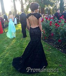 #promdress01 - 2015 elegant black lace open back cap sleeves mermaid prom dress, ball gown, cue+dresses+for+teens, wedding dress