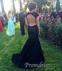 #promdress01 - 2015 elegant black lace open back cap sleeves mermaid prom dress…