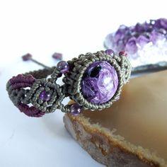 Macrame Bracelet Shamballa Round Shaped Charoite Waxed Cord Handmade Handwoven #Handmade #Wrap