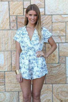 White & Blue Floral Playsuit