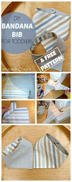 How-to make an easy BANDANA BIB - with a FREE template included! This tutorial is a perfect beginner sewing project!