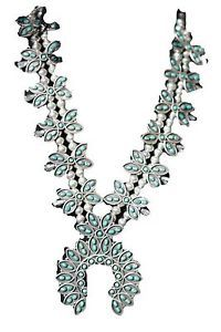 Vintage Southwestern Tribal Sterling Silver Turquoise Squash Blossom Necklace   eBay