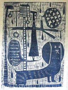 Hiromi Sumida「雨の公式」 Graphic Illustration, Graphic Art, Linocut Prints, Art Prints, Wood Engraving, Global Art, Gravure, Woodblock Print, White Art
