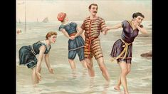 An illustration depicting a man and three women in old-fashioned swimwear cavorting in the surf at the beach, c. A look at the changing fashions of bathing attire from the late century to today Vintage Bathing Suits, Vintage Swimsuits, Old Fashioned Swimsuits, Bathing Costumes, Bikini Beach, Nahant Beach, Beach Pics, Bandeau Bikini, Beach Party