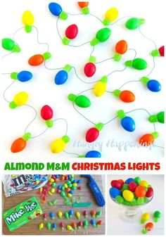 Candy Christmas Lights made using Almond M&M's and Mike and Ike Candies.