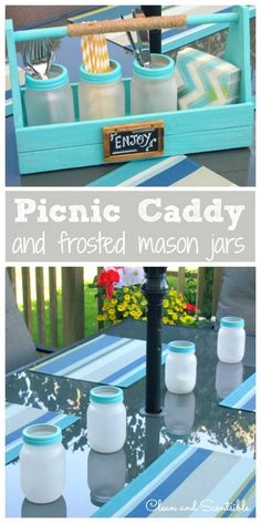 5 mason jar DIYs for your BBQ: Frosted Mason Jars and Picnic Caddy- Keep all of your picnic or BBQ utensils in this adorable caddy for an easy set up no matter how last minute your get together is. Get the how-to VIA @jliff