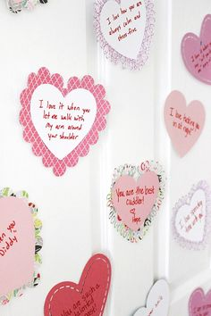 Paper Valentine's Day hearts from mom and dad with all of the reasons your kiddo is so special! Romantic Things To Do, Romantic Ideas, Driven By Decor, My Funny Valentine, Valentine Gifts, Romantic Gestures, Love Days, Valentines Day Decorations, Valentines Day Hearts