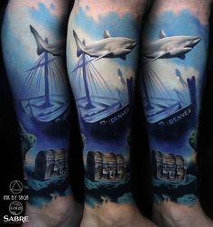 Lost treasure underwater piece done on guy's lower leg by Saga Anderson, an artist based in Calgary, Canada. Ocean Sleeve Tattoos, Ocean Tattoos, Shark Tattoos, Best Sleeve Tattoos, Body Tattoos, Underwater Tattoo, Epic Tattoo, Arm Tattoo, Chest Tattoo