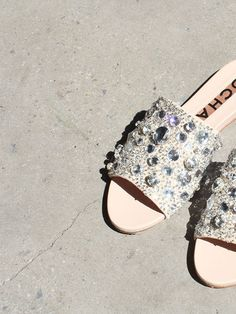 SUEDE SLIP ON SANDALS WITH STRASS CRYSTALS, NUDE