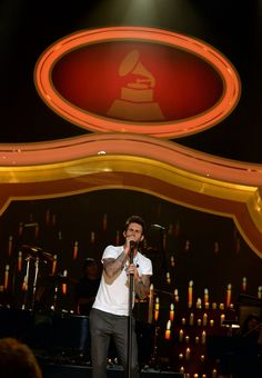 "Adam Levine of GRAMMY-winning band Maroon 5 performs at the taping for ""A Very GRAMMY Christmas"" on Nov. 18 in Los Angeles."