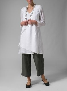 Linen Layering V-neck Tunic White
