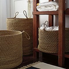 Laguna Seagrass Baskets – Set of 3  A chunky weave and looped, knotted handles give these baskets an unstructured, beachy feel that relaxes a room instantly. We love them for everything, from towels to toys. The tallest is perfect as a laundry hamper.