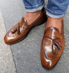 Cognac brown tassel loafers #PurelyInspiration