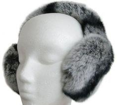 Rex Chinchilla Ear Muffs w/Fur on Band Handmade in New York's Fur District. Fur origin: China. All earmuffs are made from full skins. Unlike regular rabbit, REX does not shed and is much stronger, longer lasting, has silkier and denser fur resembling chinchilla or sheared mink.  #FursNewYork #Apparel