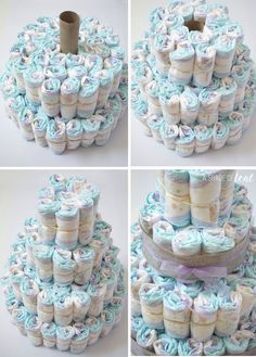 Ideas for baby shower diaper cake ideas: Should you wish to serve guests multiple courses, allow them to have sweets to nibble on in the middle the courses. You can leave sugar roses, but sweets that match the baby shower colors are a good choice. Baby Cakes, Baby Shower Cakes, Baby Shower Diapers, Baby Boy Shower, Baby Shower Gifts, Baby Showers, Pink Cakes, Bricolage Baby Shower, Cadeau Baby Shower