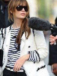 Chanel shirt, Chanel jacket. This girl reached perfection.