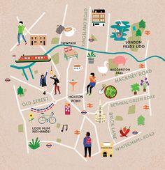 Fuchsia Macaree - Map of East London for Cara Magazine.