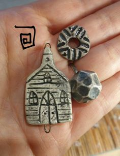 Old country church bead set by Terri DelSignore - https://www.facebook.com/groups/CeramicArtBeadMarket/