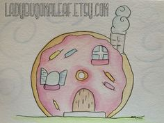 I want to live in a donut house!  food art nursery decor by ladybugonaleaf, whimsical, colorful fun! Bakery lovers unite!