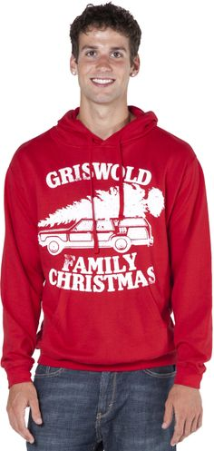 This National Lampoon's Christmas Vacation hoodie features the Griswold's station wagon with the enormous Christmas Tree tied to the roof. As you will remember, Clark and family hiked through miles of