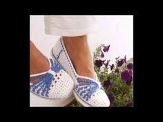 Zapatos tejidos a crochet - YouTube